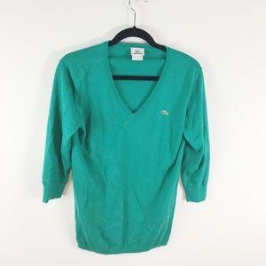 Lacoste Teal Green V Neck Pullover